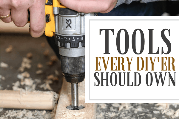 """cordless drill with a forstner bit. Text reads, """"Tools every DIY'er should own"""""""