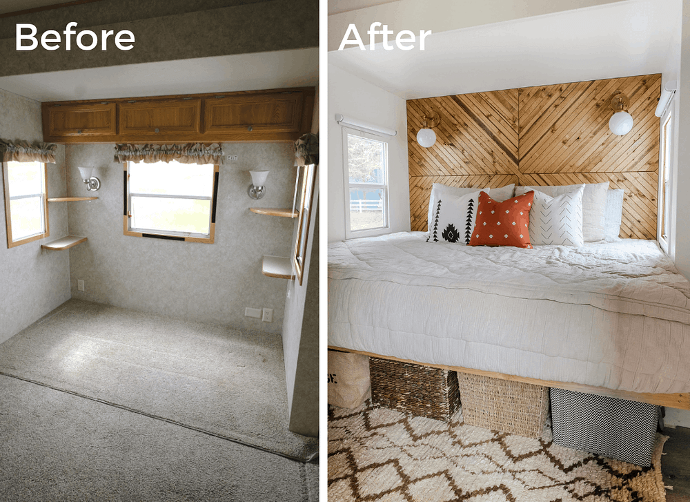 RV bedroom before and after photo