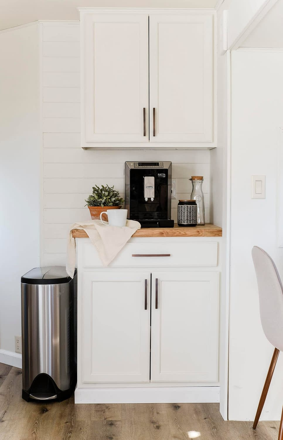 RV Kitchen remodel with a designated coffee bar that has an espresso maker