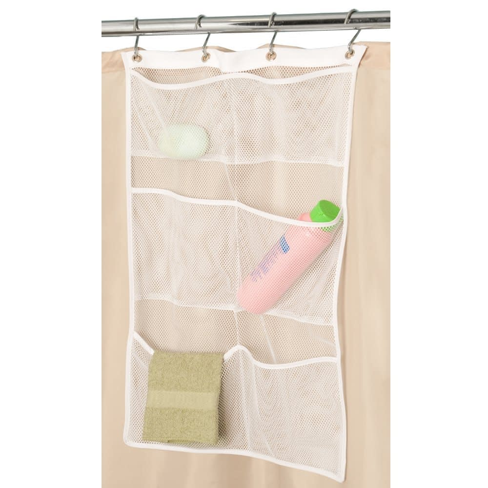 Cheap organization products including a mesh shower curtain organizer with 6 pockets to hold shower items