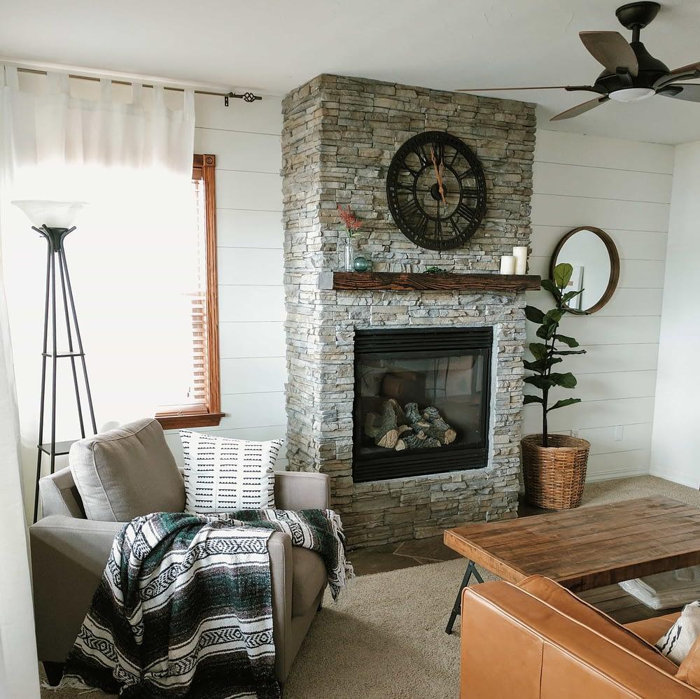 DIY stacked stone veneer fireplace remodel
