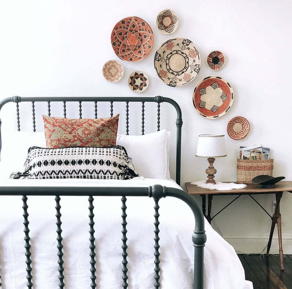 baskets hanging on the wall as decor