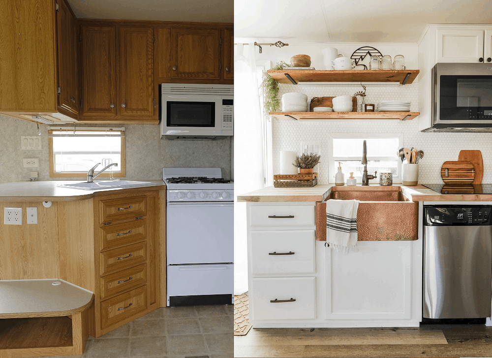RV kitchen remodel before and after side by side