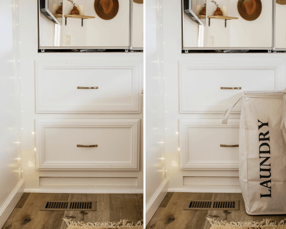 Side by side photos of a closet showing a laundry bin tucked in out of sight