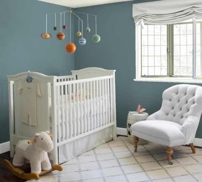 nursery painted with Aegean Teal paint