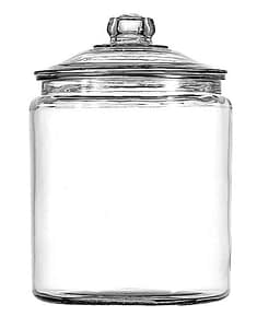 Glass container for dried goods with lid