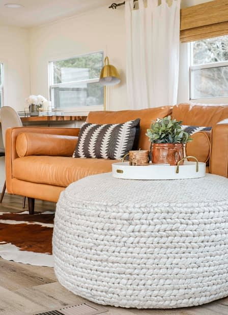 Large pouf for living room with a tray on top