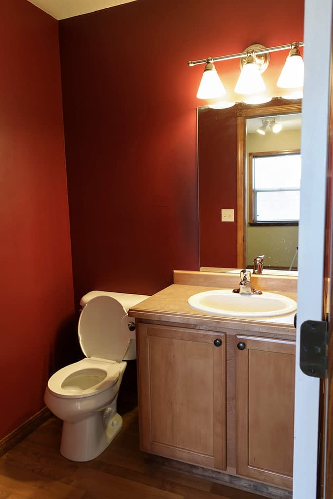 bathroom with red walls and basic vanity