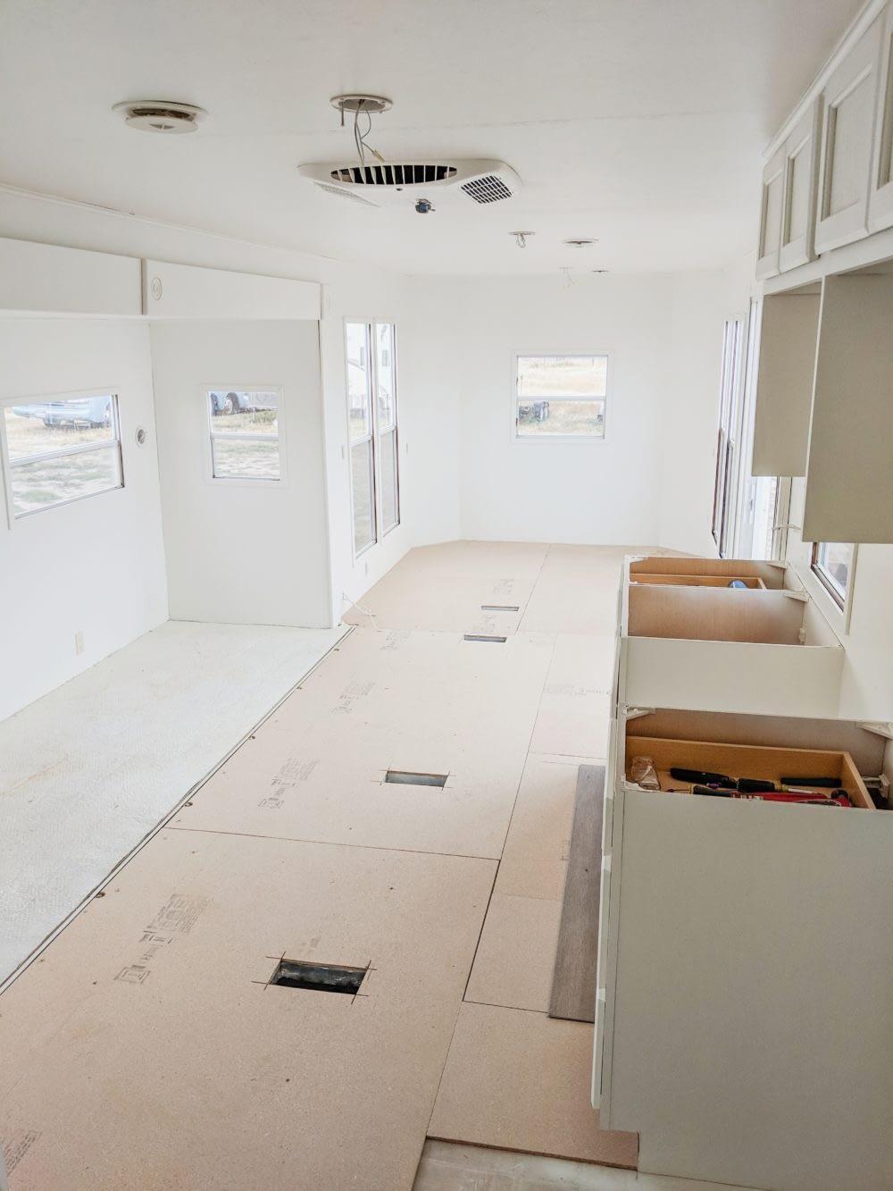 RV interior walls painted white