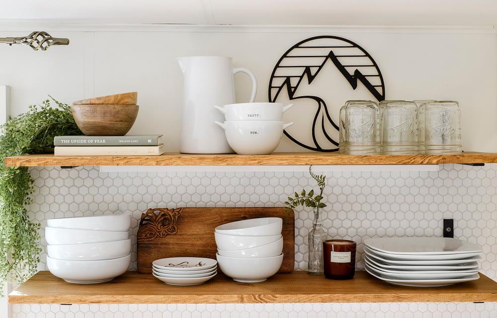 kitchen remodel with open shelves and hexagon tile backsplash