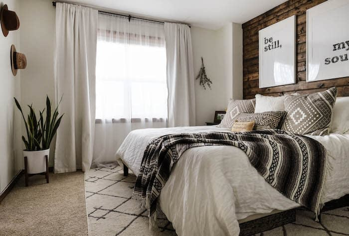 master bedroom with White Dove paint