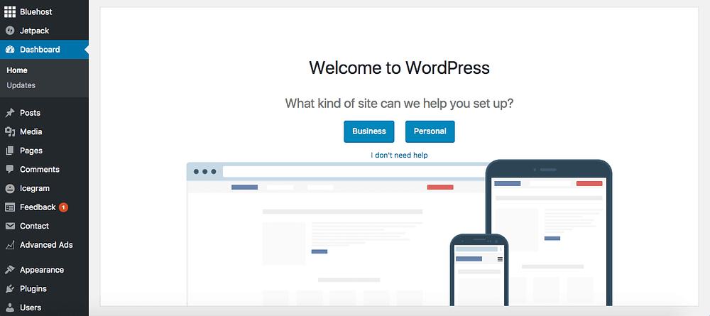 Bluehost tutorial screenshot of wordpress dashboard