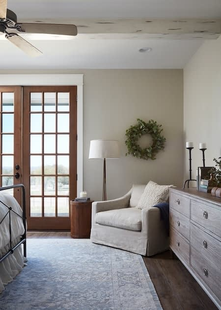 master bedroom with off-white paint