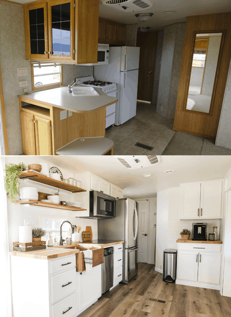 RV kitchen remodel before and after view