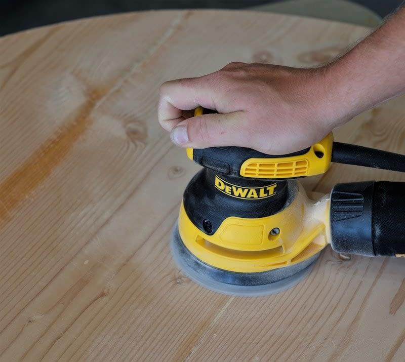 """Sanding a tabletop with a Dewalt 5"""" sander"""