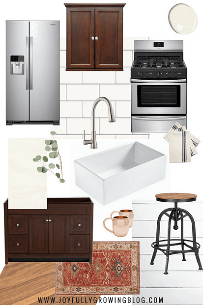 Kitchen design mood board with wood cabinets and white farmhouse sink