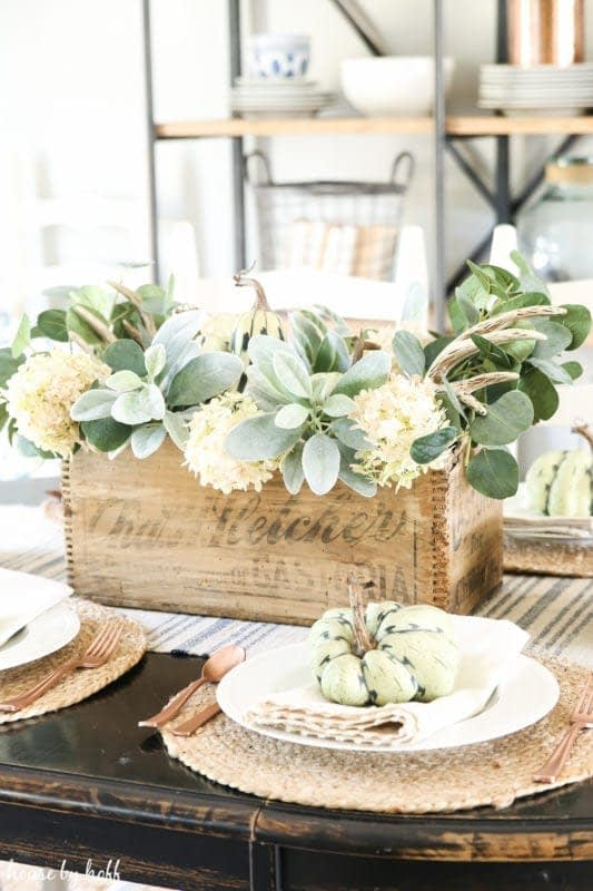 Thanksgiving table centerpieces with a rustic wood box and lambs ear greenery