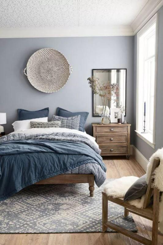 blue monochomatic bedroom