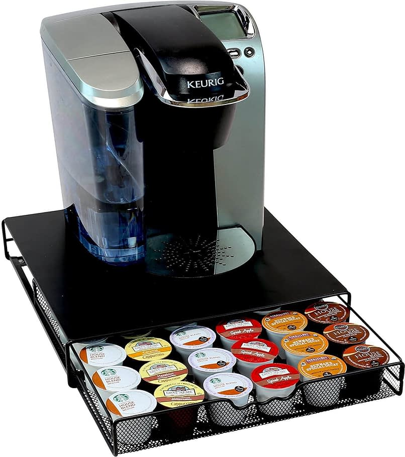 Cheap organization products including a keurig coffee machine sitting on top of a black drawer with Kcups inside