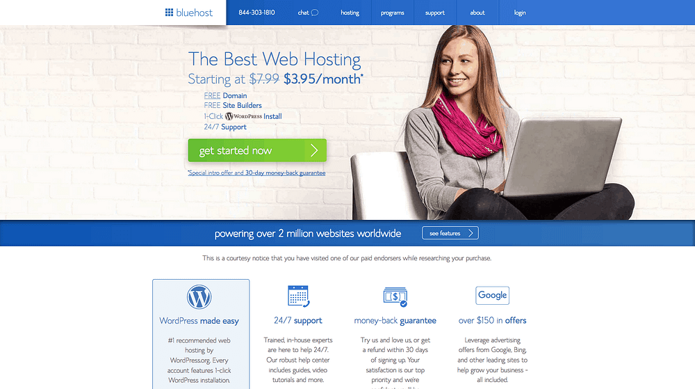 Bluehost tutorial screenshot with signup page