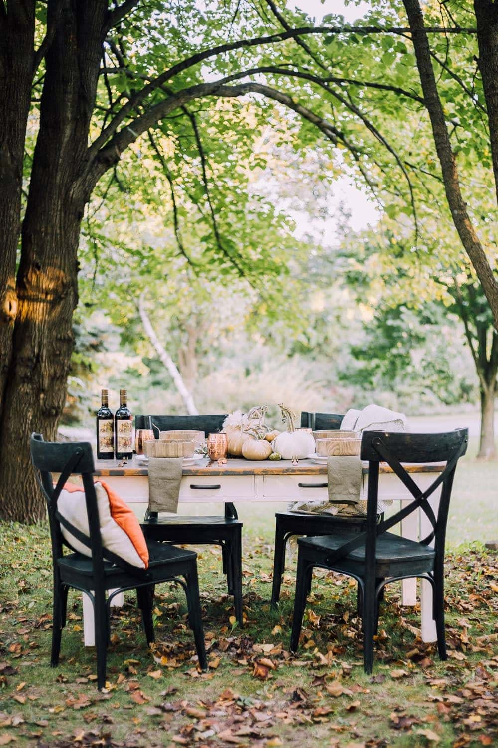 Thanksgiving table centerpiece outdoors in the park on a farmhouse table with black chairs