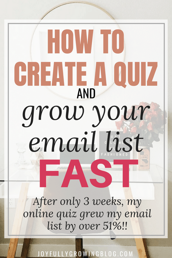 """Image of desk with text overlay that reads """"How to create a quiz and grow your email list fast!"""""""