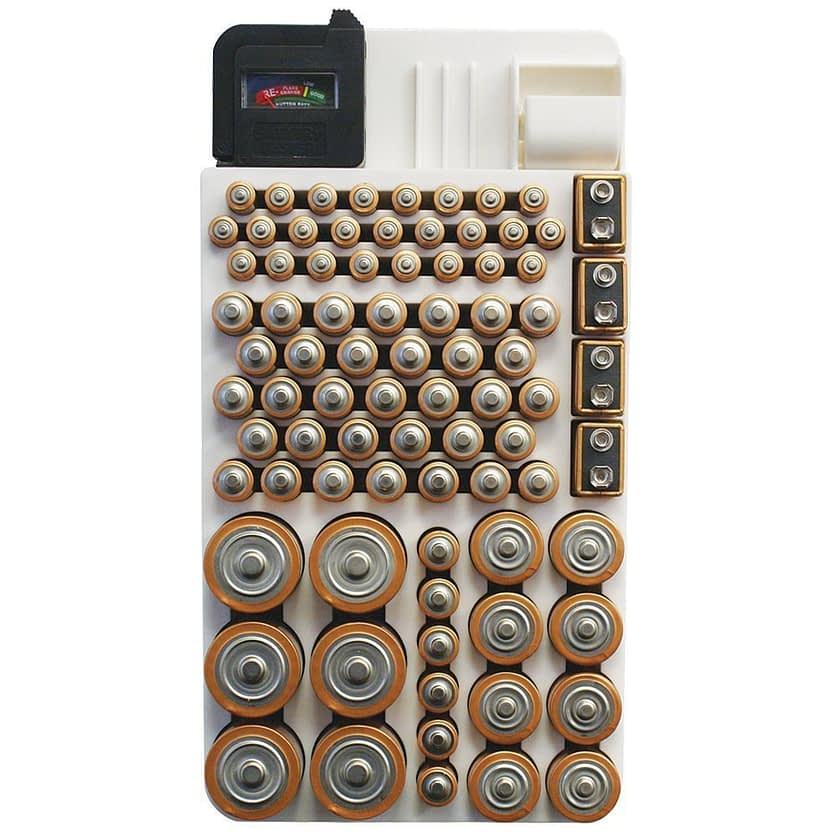 Cheap organization products including a battery storage container with 82 batteries of varying sizes from Amazon