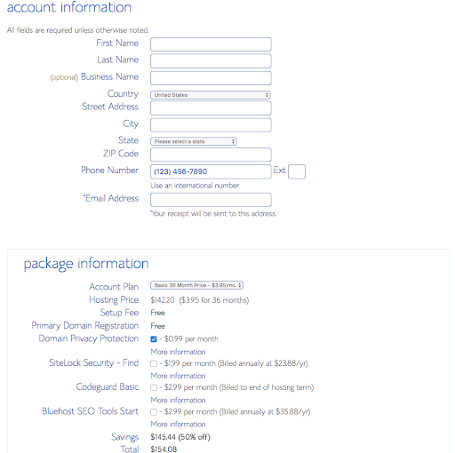 Bluehost tutorial screenshot with account information