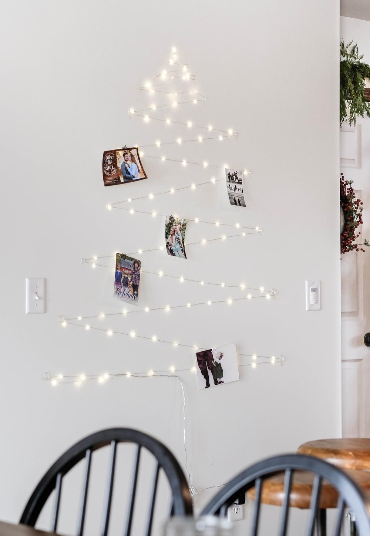 twinkle Light Card Display shaped like a christmas tree for a simple Christmas decor idea