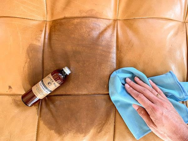 oiling a leather sofa