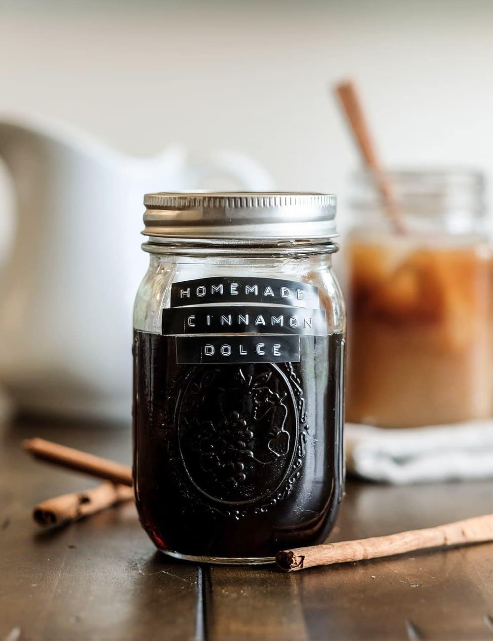 Homemade Cinnamon Dolce Coffee Syrup in a mason jar