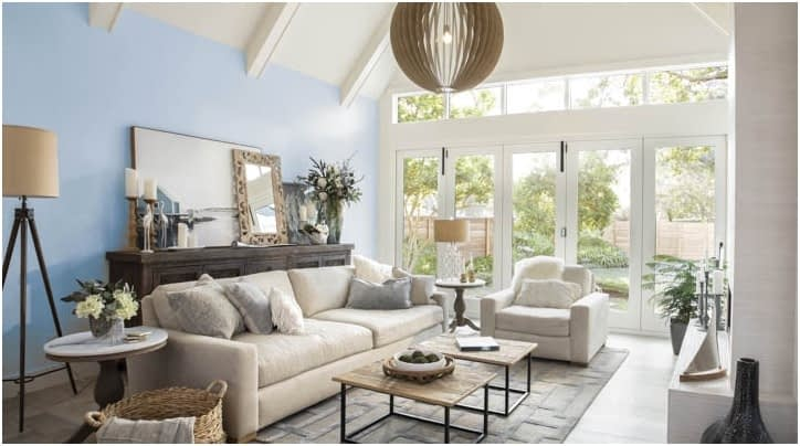 Living room painted with Wild Blue Yonder paint