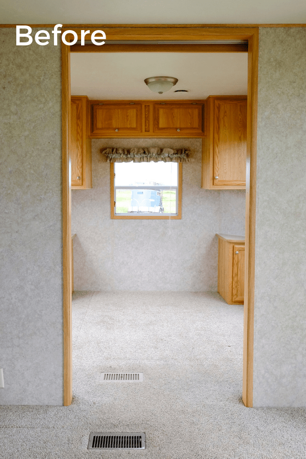 Before photo of an RV home office makeover that looks like a second bedroom
