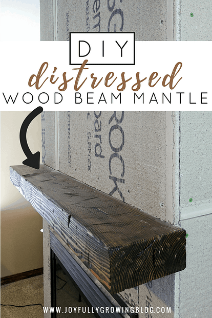 DIY Distressed Wood Beam Mantle - How to make new wood look old. Hint - it's easier than you think!
