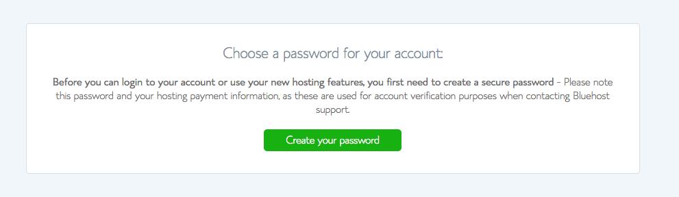 Bluehost tutorial screenshot of password creation