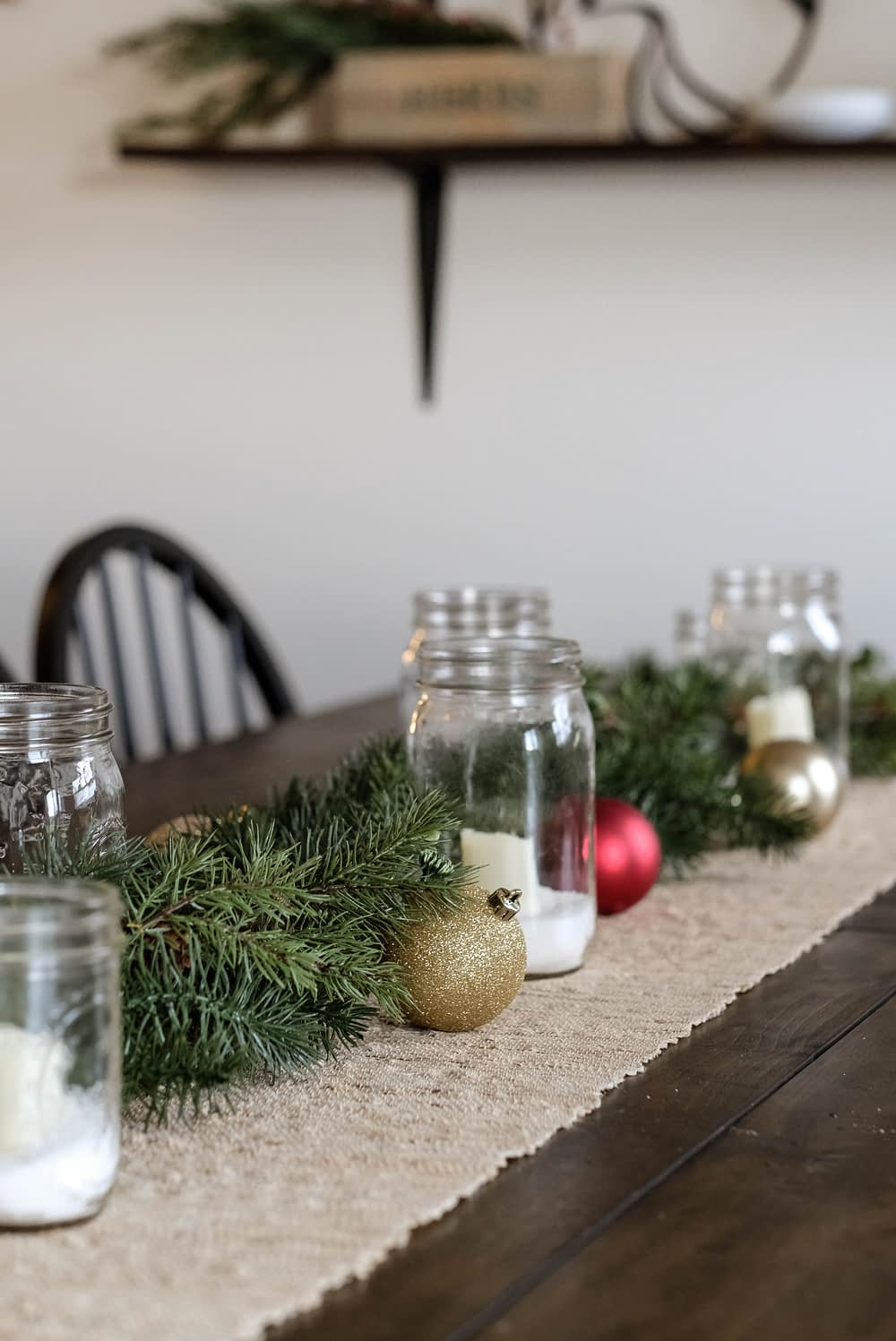 dining table decorated for christmas