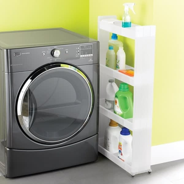Cheap organization products including a narrow rolling storage cart in between a washing machine and the wall