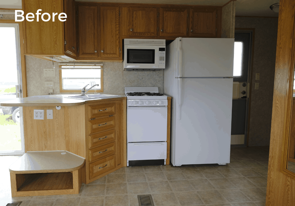 RV kitchen remodel before photo with original cabinets and appliances