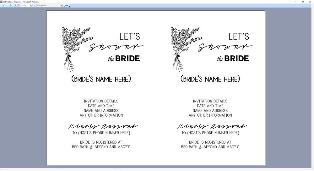Microsoft Publisher screenshot Bridal Shower Invitation Print Preview