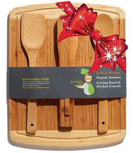 wood cutting board set with utensils gift set