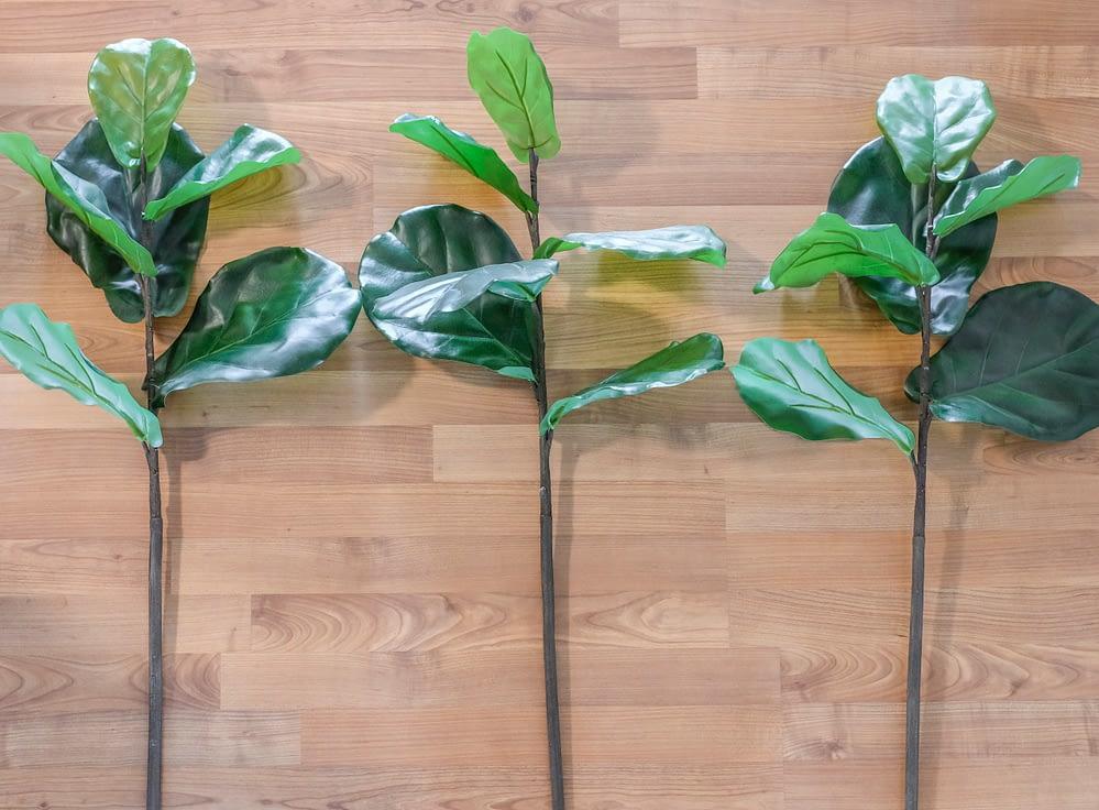 three faux fiddle leaf fig branches