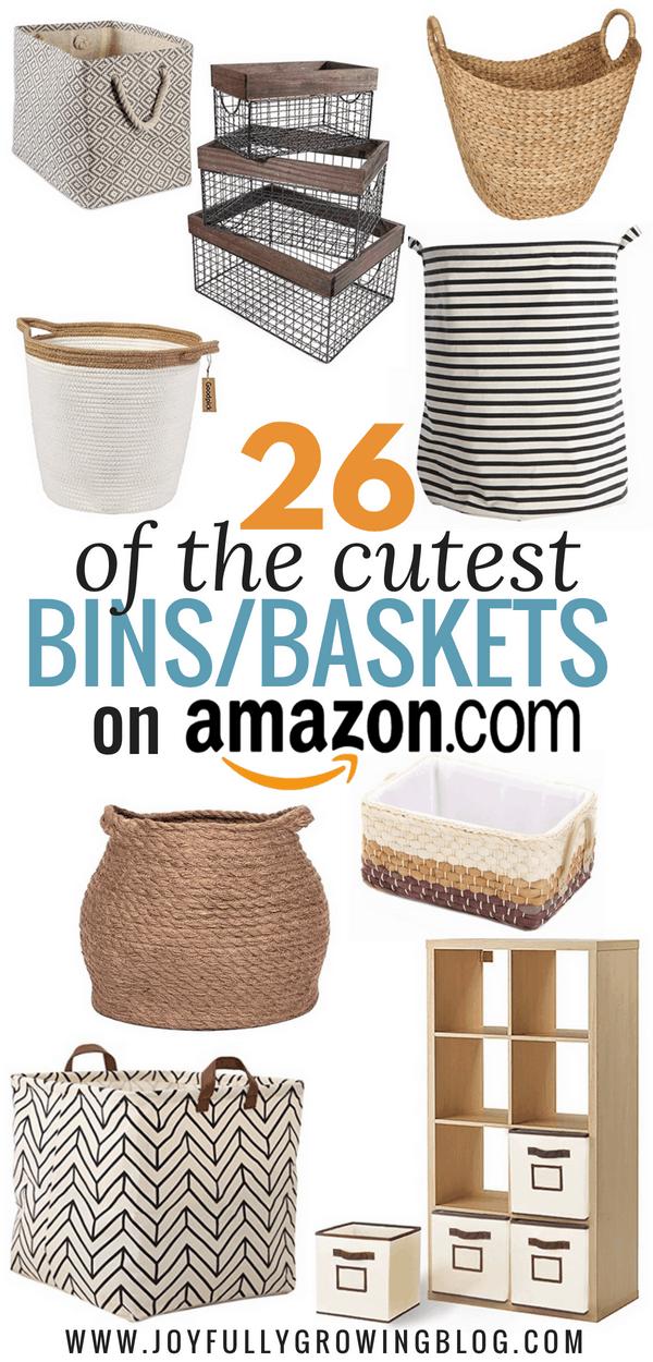 cute bins and baskets on amazon