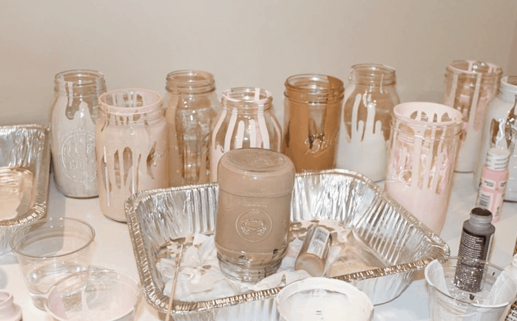 DIY Painted Jars | See how to recreate this Anthropologie inspired DIY with this simple tutorial | Valentine's Day Decor | Centerpiece Ideas