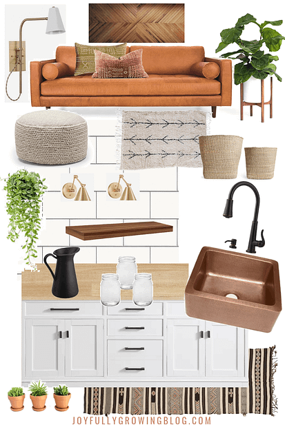 RV makeover ideas moodboard with furniture and appliances